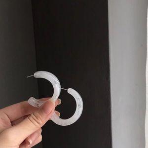 Jewelry - Host Pick ✨Half Moon Clear Acrylic Hoop Earrings